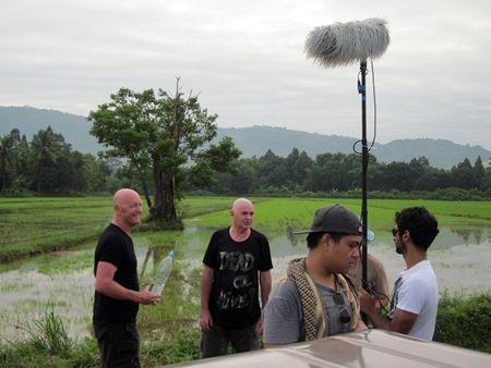 Duncan and Peter with film crew on location in Nakhon Nayok.