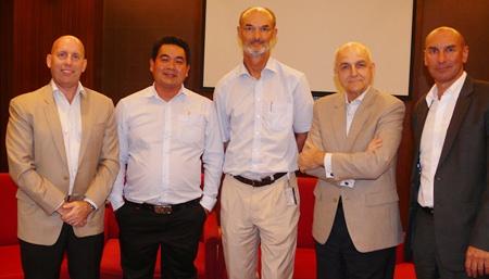 (L to R) David Chuter, Rakchart Khuanha, Dr. Dirk Janovsky, Tom Sorensen, and Laurent Ferry.