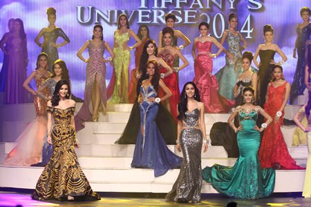 Contestants parade in their evening gowns during the final judging period.