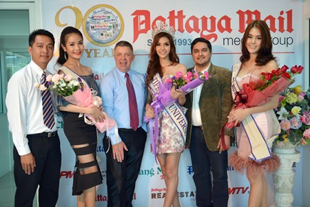 (From left): Marcus Souksi, Pattaya Mail reporter, Rachaya Noppakaroon (Mick), Paul Strachan, PMTV productions Manager, Nissa Katerahong (Nuey), Kamolthep Malhotra, General Manager of Pattaya Mail Media Group and Trithipnipa Thippaphade (Arm) pose for a photo at the Pattaya Mail Media offices, Wedneday, May 14.