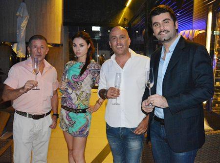 (L to R) Andrea Cavazzini, Julia Kikulicheva, Daniel Boccalini and Francesco Neirotti, Italian Wine Manager of the Bangkok Beer & Beverages Co., Ltd.