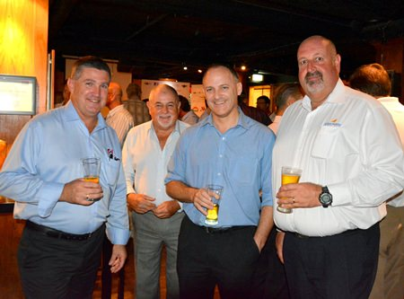 (L to R) John Koenig, General Manager of C&C Industries Pty Ltd.; David Bell, MD of Crestom Ra-Kahng Associates Limited; Peter Scott, General Manager of Infocomm Thailand Coverage Ltd.; and Scott Finsten, Harbour Master of Ocean Marina Yacht Club.