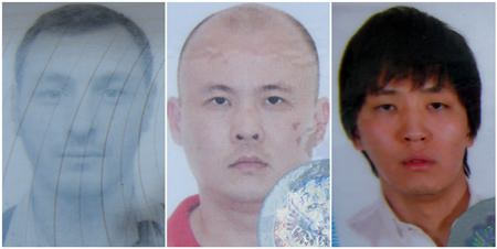 (L to R) Dmitrii Minkin, Aleksandr Li and Aleksandr Lidzhiev have been charged with ATM theft.