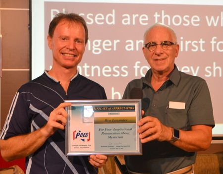 Following questions, MC Richard Silverberg presented Ren with a Certificate of Appreciation as thanks for his insightful presentation.