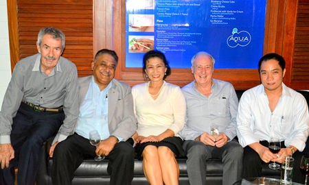 (L to R) Peter Cummins, Special Correspondent of the Pattaya Mail Media Group; Peter Malhotra, Managing Director of the Pattaya Mail Media Group; Nittaya Patimasongkroh, Past President of the YWCA Bangkok-Pattaya; Dr. Iain Corness; and Neil Maniquiz, Head of the Bangkok Hospital Pattaya International Marketing Department.