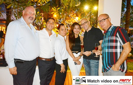 (L to R) Scott Finsten, Harbour Master of the Ocean Marina Yacht Club Pattaya; Alex Chakrabarti, General Manager of the Mercure Pattaya Hotel; Neil Maniquiz, Head of the Bangkok Hospital Pattaya International Marketing Department; Wiparat PhuPhanpet, Sales Officer of the G Four Co., Ltd.; Robert John Lohrmann, General Manager of the Centara Grand Mirage Beach Resort Pattaya and George Kenton, Executive Assistant Manager-Rooms of the Centara Grand Mirage Beach Resort Pattaya