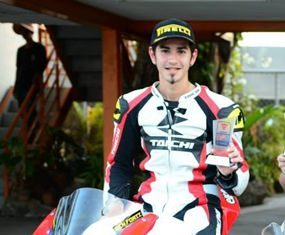 Ben Fortt, all smiles after taking first place on Pirelli Academy Race Day at the Bira International Circuit in Pattaya, Sunday, May 11.