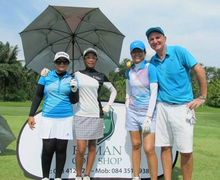 Yuza Phaohom, Suphattra Dulkys, Rotjana Neal and Bryan Michael Neal at the Pattaya Amateur Golf Series - Greenwood G.C.