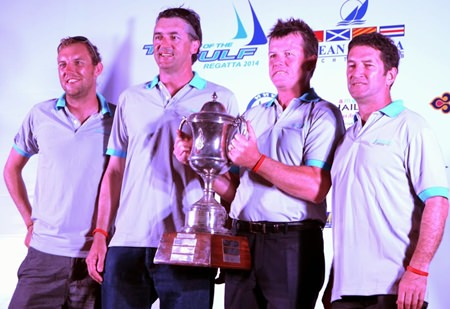 Scott Duncanson and his platu crew from 'Kingdom Property' celebrate victory in the 2014 Coronation Cup. (Photo/TOG Regatta)