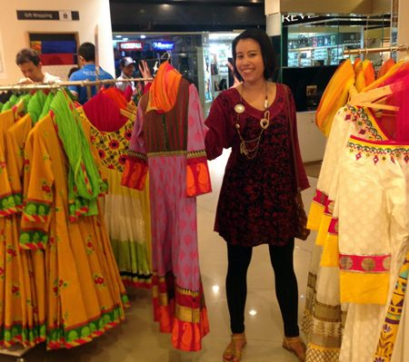 Shopping for colorful Indian dress.