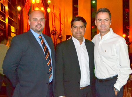 (L to R) MJ Loza, General Manager for NZ Accolade Wines, Tony Malhotra, Asst MD of Pattaya Mail Media Group, and Richard Margo, Resident Manager of the Amari Pattaya join up for a fun evening.