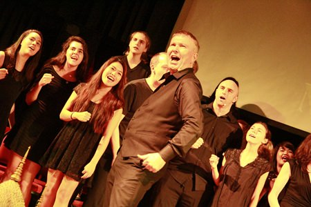 Drama teacher, Mike Thomas leads from the front.
