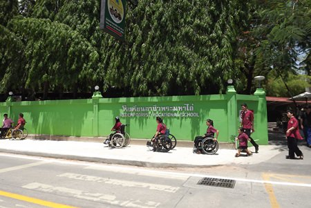 Teachers and students from Redemptorist School begin testing the new wheelchair route.