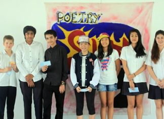 The Year group winners of the Poetry Slam from St. Andrews Green Valley and St. Andrews Sukhumvit 107 in Bangkok.