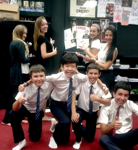 Regents LAMDA students ham it up for the camera.