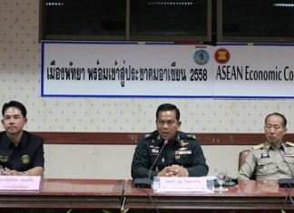 (L to R) Pattaya Mayor Itthiphol Kunplome, Royal Thai Army Maj. Gen. Nath Inthracharoen, and Chonburi Gov. Khomsan Ekachai preside over the meeting on stability and the economy.
