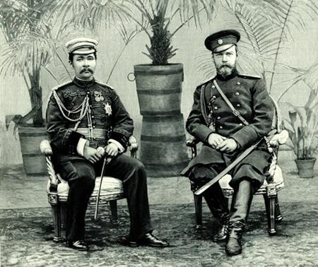 King Rama V visited Russia during his European tour. He is seen here with Tsar Nicholas II.