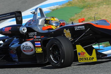 Stuvik steers his RP Motorsport F3 car to victory at the Jerez Circuit in Spain, Sunday, June 22.