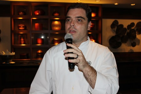 Jack Yoss, director of culinary and service of the Sheraton Pattaya Resort welcomes guests to the event.