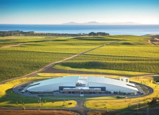 The impressive Yealands winery among the vineyards.