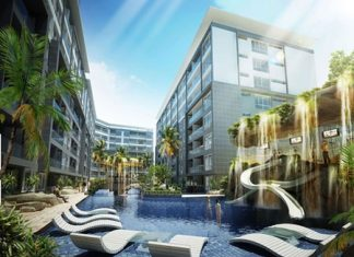 A computer graphic shows the pool area at the Centara Avenue Hotel. Centara Hotels & Resorts says it will open two new hotels in Pattaya later this year.