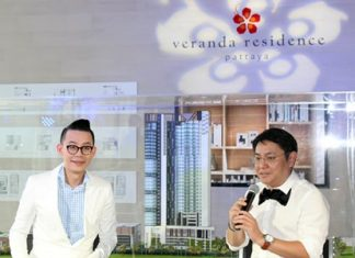 Werawat Ongwasit, MD of Veranda Resort & Spa Co. Ltd, (right) and event host Warawut Laophongchana (left) talk to media and potential investors at the July 18 official announcement of the 36-floor Veranda Residence project in Jomtien.
