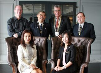 Members of the Skål International Bangkok Executive Committee pictured with special guests at the organization's monthly networking luncheon on 15 July 2014. Seated: Pirada Techavijit (right), now training to become Thailand's first astronaut, and Kanokros Sakdanares, newly-elected President of Thailand's Hotel Public Relations Association. Standing (left to right): Stephen Morton (Director - Young Skål); Somsak Kiratipanich (Vice-President - Skål International Bangkok); Dale Lawrence (President - Skål International Bangkok) and Brinley Waddell (Skål's International Councilor for Thailand).
