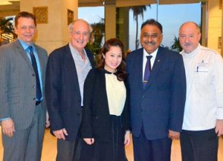 (L to R) Robert Schnabel, Royal Cliff Grand Hotel Resident Manager, Dr. Iain Corness, Maria Gequillana, PR & Marketing Communications Manager of the Royal Cliff Hotel Group, Pratheep S. Malhotra, Managing Director of Pattaya Mail and Walter Thenisch, Executive Chef of Royal Cliff Hotel Group.