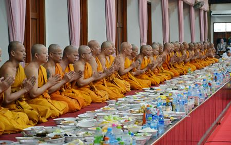 Monks pray to bless Buddhists attending the ceremonies.