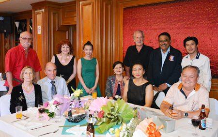 Many respected local personalities graced the PSC summer party this year (l-r) Horst Mueller, Margret and Otmar Deter (Rotary e-Club Dolphin Pattaya International), Elfi Seitz (Pattaya Blatt), Praichit Jetpai (President YWCA Bangkok-Pattaya Chapter), Sopin Thappajug (MD Diana Group & PSCA Registered Committee Member), Nittaya Patimasongkroh (PSCA Registered Committee Member), William Macey (PSC Charity Chairman), Peter Malhotra, Satienpong Kamnon (President Rotary Club of Pattaya) and Premprecha Dibbayawan (Rotary Past District Governor & PSCA Registered Committee Member).