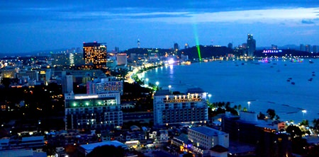 Beautiful view of Pattaya Bay from the rooftop of the hotel.