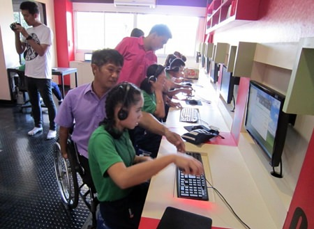 Each computer at the Redemptorist School for the Blind is equipped with special programs and hardware to enable their use without sight.