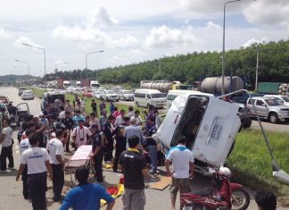 Police believe the driver may have fallen asleep while transporting Indian tourists from Suvarnabhumi International Airport to Rayong.