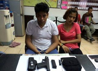 Jakraphan Charoenchairungruang (left) and Sunisa Photphiphit (right) have been arrested for attempting to sell a stolen handgun through Facebook.