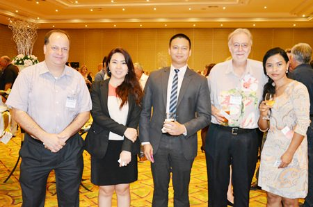 (L to R) Greg Watkins, Executive Director of the BCCT; Wiracha Suchonthong, Director of Events for Dusit Thani Pattaya; Warranyu Matayat, Assistant Manager-Sales at Dusit Thani Pattaya; Chris Thatcher, Vice Chairman of the BCCT; and Narawadee Thongboonchoo, Resident Manger of the Sunshine Hotels & Resorts Pattaya.