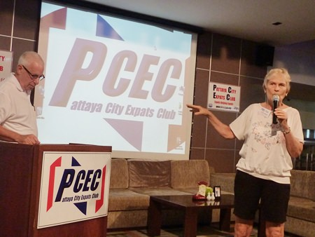 Pat Koester announces that she and fellow USA Embassy Warden Al Serrato right after the end of the June 29 PCEC meeting will be demonstrating for US citizens how to sign up online with the US State Department to receive emergency notifications and how to notify their next of kin, if needed.