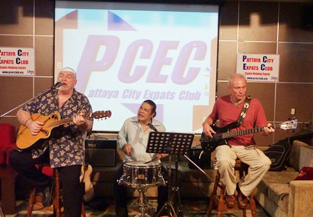 Slow Ride entertains the PCEC with several Blues tunes with Ken (Snowman) Minahan on Guitar, Somchai (Oi) Sihaapai on drums and Tony (Tone) Stevens on Bass.