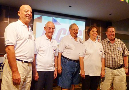 The PCEC introduces their officers for the coming fiscal year: (l to r) Roy Albiston, Chairman, Richard Smith, Vice Chairman, Wilson Fletcher, Sergeant-at-arms, Judith Edmonds, Treasurer, and David Garmaise, Secretary.
