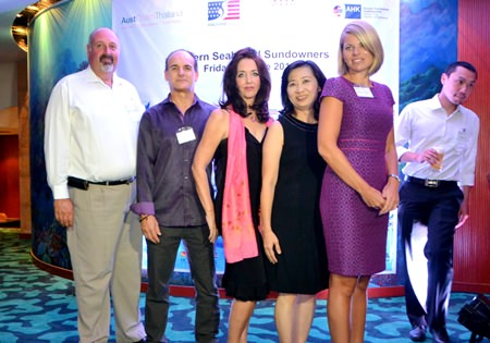 (L to R) Scott Finsten, Harbour Master of Ocean Marina Yacht Club; Les Nyerges and Raine Grady from Capital TV; Supatra Angkawinijwong, Deputy Managing Director of Ocean Marina Yacht Club; and Renee Bowman, Executive Director of AustCham Thailand.