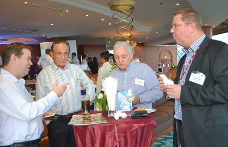 (L to R) Wayne Williams, Richard Piliero, David Nardone, and Shane Burt are deep in discussion.
