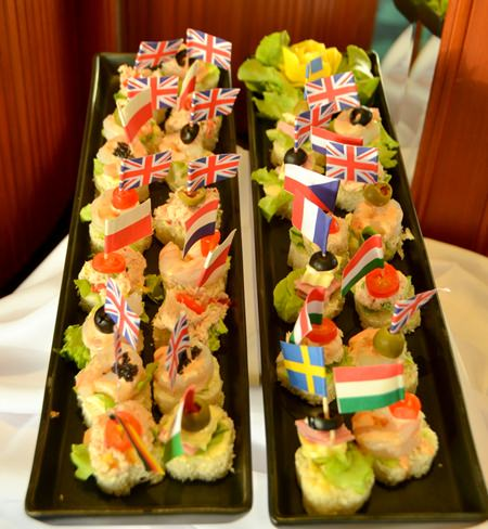 A variety of delicious international and Thai snacks on offer at the Captain's Table.