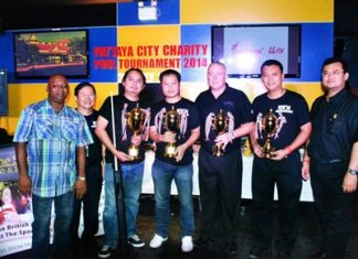 (Center, L to R) 1st thru 4th place - Jeerawut Buatong, Manop Donrat, Gabriel Burns and Banthit Siritanyong.