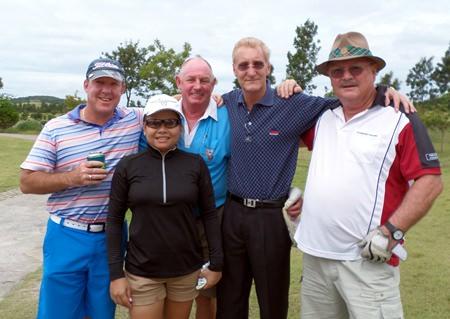 Bob Van Mol with his wife Phaeng, Bob Philp, Mick Williams and Ron line up at the Baan Tong Tong Tournament.