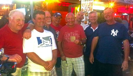4th of July 2-man scramble winners Ken Price & Eddie Behr celebrate with the lads at The Golf Club.