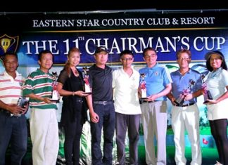 Chairman's Cup first round qualifiers pose on stage at Eastern Star Country Club & Resort, Saturday, June 14.