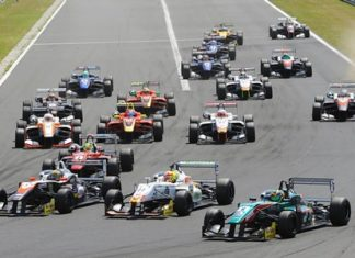 Thailand's Sandy Stuvik (front left) challenges for the lead at the start of Race 2 during the Euroformula Open championship Round 4 at the Hungaroring Circuit in Hungary, Sunday, July 6.