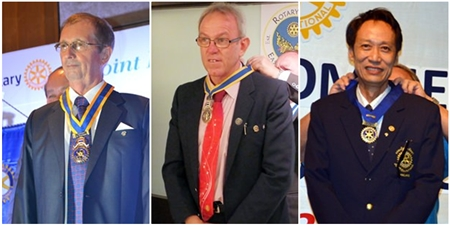 The newly installed presidents. (l-r) Joseph Roy (RC Pattaya Marina), Russell Iffland (RC Eastern Seaboard) and Vutikorn Kamolchote (RC Jomtien-Pattaya).