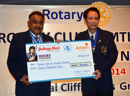PDG Peter Malhotra presents a cheque for 90,000 baht to President Vutikorn on behalf of Pattaya Mail Media Group, Amari Pattaya and Skål International Pattaya & East Thailand for the education of underprivileged school children in Sa Kaew province.
