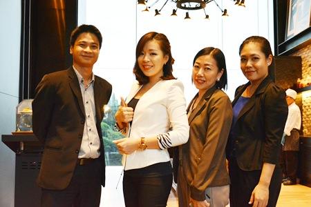 The management team of the Holiday Inn poses for a photo: Sittichok Puttakun, Sales Manager, Madtiga Sutamchaem, Sales Executive - Catering, Benchamat Phudthiradvittaya, Senior Sales Manager and Chananchida Wongsa-ard, Sales Manager.