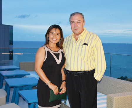 Yet another stunning couple enjoying the scenery from the 25th floor of the Executive Building, Holiday Inn Pattaya, Ploy and Rene Pisters, General Manger of the Thai Garden Resort Pattaya.